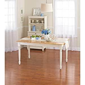 Charmant Better Homes And Gardens Autumn Lane Farmhouse Dining Table, White And  Natural