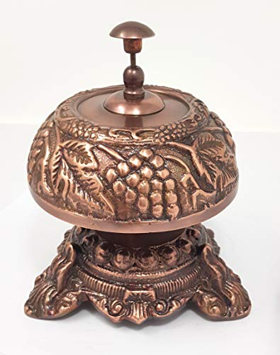 Brass Nautical - Beautiful Desk Bells Wine Unique Table Bells Home Decor Gift Call Bell Reception Bell (Grapevine, Brass ()