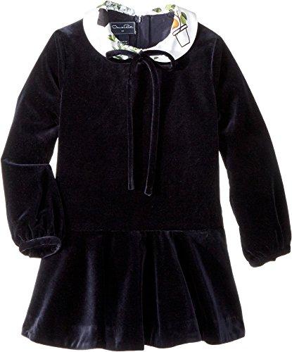 OSCAR DE LA RENTA Childrenswear Girl's Long Sleeve Velvet Flare Dress (Little Kids/Big Kids) Navy 12