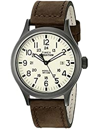 Timex Men's T49963 Expedition Scout Brown Leather Strap Watch