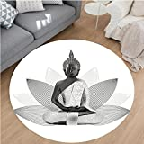 Nalahome Modern Flannel Microfiber Non-Slip Machine Washable Round Area Rug-or Meditation Theme Silver Color On Lotus Petals Far Eastern Indian Sage Print White Grey area rugs Home Decor-Round 28''