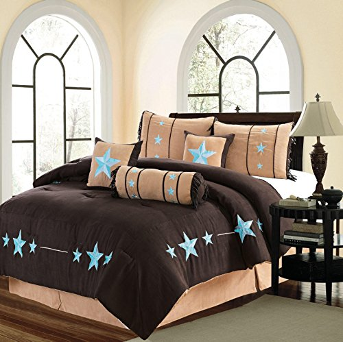 "MB Collection 7 Piece WESTERN Lodge Oversize KING (110""X96"") Comforter Set Dark Brown / Aqua Blue Turquoise - Embroidered Lone Star Barbed Wire Micro Suede Bedding"