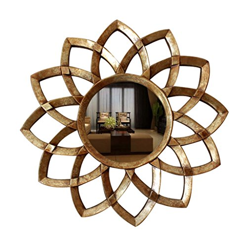 Milisome World Makeup Mirror Espejo Decorativo de Resina Europea Arte Creativo Espejo de la Flor del Sol Sala de Estar Fondo...