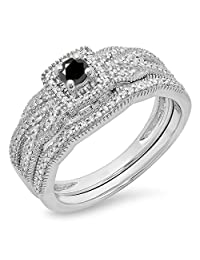 0.45 Carat (ctw) 10K Gold White & Black Diamond Bridal Halo Engagement Ring Matching Band Set 1/2 CT