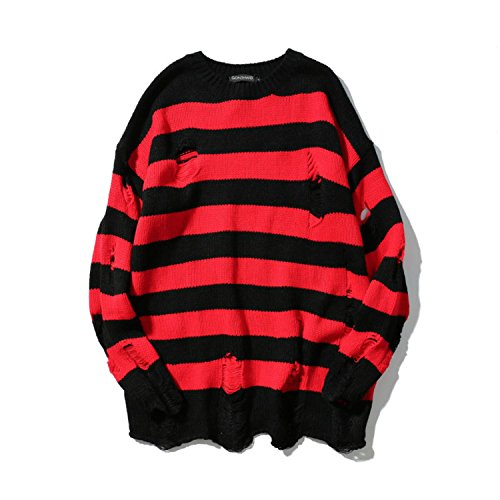 Sonjer Stripe Knit Sweaters Men Hip Hop Hole Casual Pullover Sweater Male Fashion Loose Long Sleeve Sweaters Red Black by Sonjer