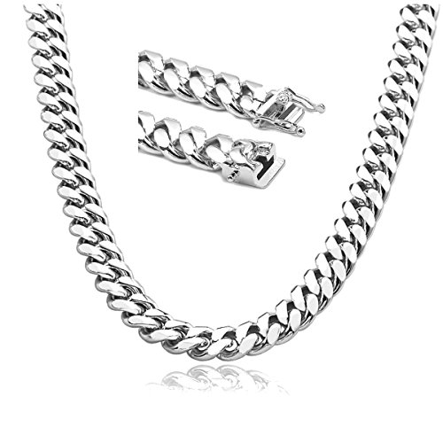 (Gold Chain Necklace 14MM 18K White Gold Diamond Cut Smooth Cuban Link with A Warranty. USA Made! (22))