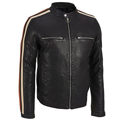 Wilsons Leather Mens Stripe Sleeve Faux-Leather Jacket M Black