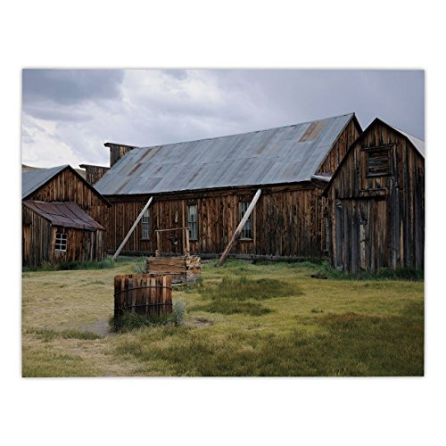 iPrint Rectangular Satin Tablecloth,United States,California Old Barn of A Country House American Rural View,Purplegrey Brown Olive Green,Dining Room Kitchen Table Cloth (Lifestyle California Country Table)