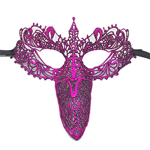 Women's Masquerade Mask Lace Party Prom Venetian Ball Halloween Eye Costume Mask (Long Nose Corner Rose Red)