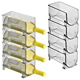 mDesign Plastic Free-Standing Water Bottle and Wine Rack Storage Organizer for Kitchen Countertops, Table Top, Pantry, Fridge - Stackable, Holds 1 Bottle Each - 8 Pack - Smoke Tint
