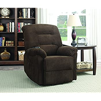 coaster home furnishings modern power lift wall hugger recliner chair with emergency backup chocolate