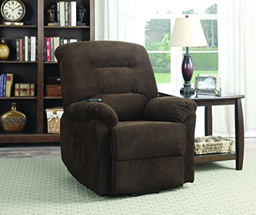 Wall Hugger Lift Chair (Coaster Home Furnishings  Modern Transitional Power Lift Wall Hugger Recliner Chair with Emergency Backup - Chocolate Textured Chenille)