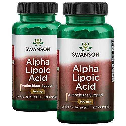 Swanson Alpha Lipoic Acid Antioxidant Cellular Protection Promotes Healthy Blood Sugar Supplement 100 mg 240 Capsules (Caps) 2 Bottles