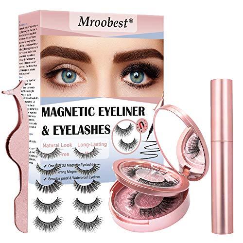 Wimpern Magnetisch, Magnetic Eyeliner, Falsche Wimpern Magnetisch, Wasserdicht und kein Klebstoff erforderlich Wiederverwendbares magnetisches Wimpernset mit magnetischen 3D-Wimpern und Pinzetten 5pcs