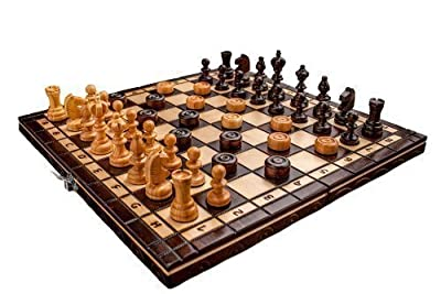 """Hand Crafted Cherry Wooden Chess And Draughts Set 13,7"""" x 13,7"""""""