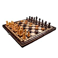Nouveau manuel fini Jeu d'échecs + Dames cerisier bois 35 x 35 cm