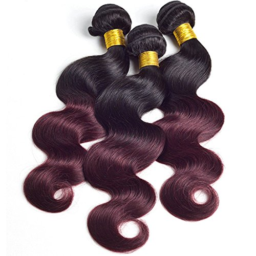 Ombre 1b 99j 3 Bundles Mixed Length Burgundy Two Tone Sleek Red Wine Color Brazilian Body Wave Remy Human Hair Extension Weave Weft 16 18 20 inches