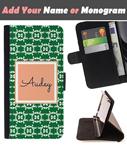 [ Customize Your Case ][ LG V20 ] Personalized Monogram Name Leather Wallet Flip Cover - Gravestone -