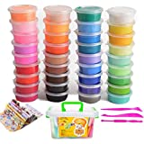 36 Colors Air Dry Clay Ultra Light Molding Magic Non-Toxic Clay & Dough, Creative Art DIY Crafts Birthday Gift for Kids (36 Colors with Storage Box)
