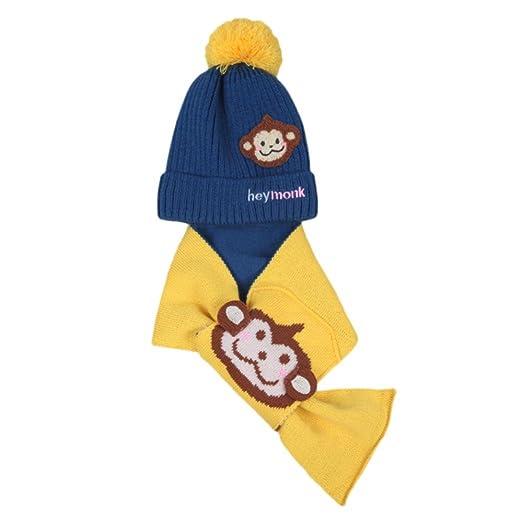 b5d4eb9a170 Amazon.com  Weiyun Baby Warm Hat+Scarf 2Pcs Boys Girls Kids Cartoon Monkey  Hat Child Cotton Warm Hats Cap+Scarf Set (Dark Blue)  Clothing