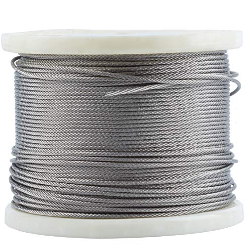 T316-Stainless Steel 1/8'' Aircraft Wire Rope for Cable Railing Kit,Marin Grade (400 ()