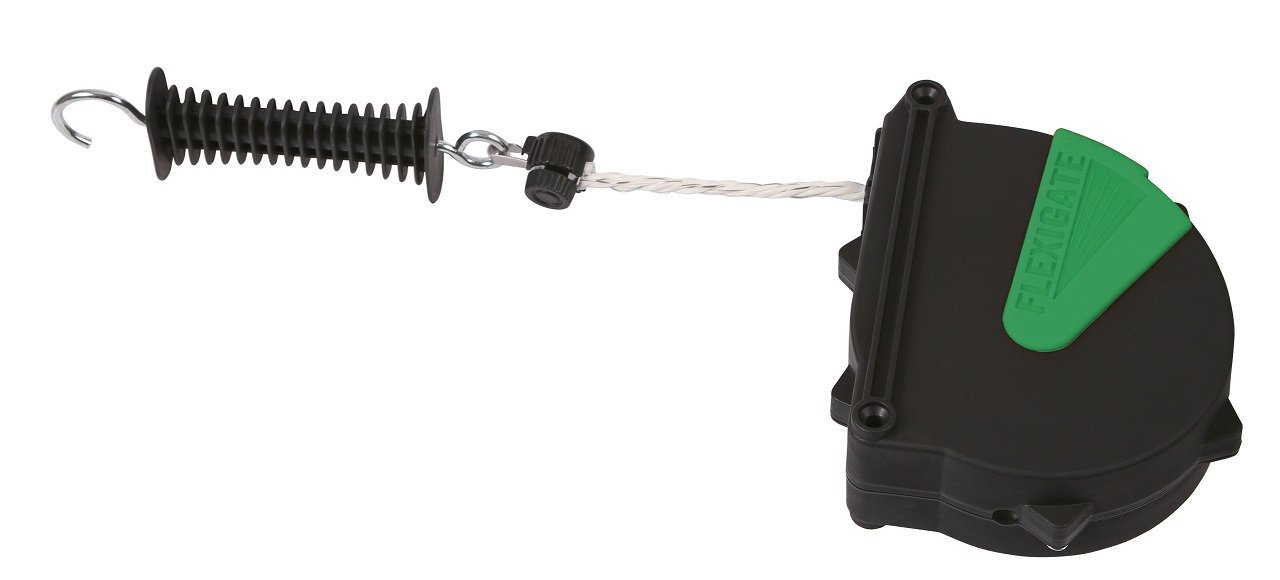 Flexibler Verschluss für Tore 'Flexigate' dispositovo dass ermöglicht die elektrifizieren Eingang des Zaun. Öffnet das Tor, Flexigate' legt sich automatisch durch eine Feder aus Stahl. Albert Kerbl con corda mt 7 5