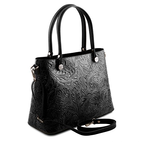 Tuscany floreale scuro Nero stampa Leather in Borsa Atena pelle shopping Blu OpPOrB1
