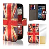 32nd® Design book wallet PU leather case cover for Motorola Moto X Play (2015 edition) + screen protector and cleaning cloth - Union Jack