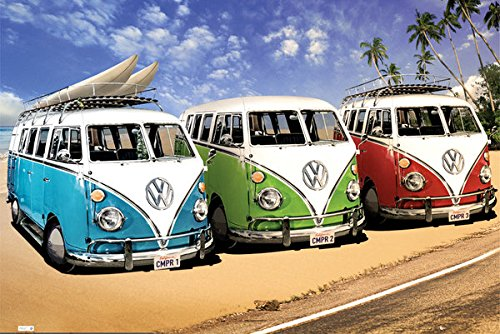 Vw Volkwagen Campers on Beach Vintage Car Photography Art Print Poster