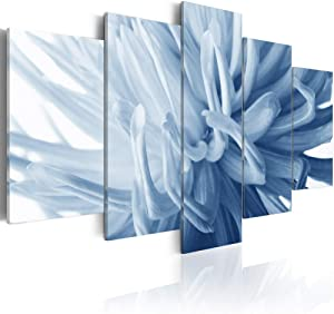 Blue Flower Art Wall Decor Floral Painting on Canvas Modern Framed 5 panel artwork the Picture for Home Decoration