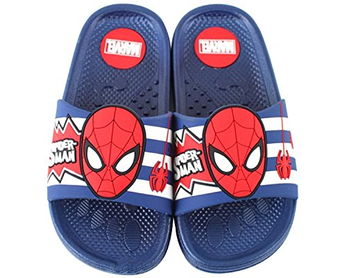 Marvel Spider Man 3 Lines Blue Summer Slippers Slide Sandals (Parallel Import/Generic Product) (11 M US Little - Package Usps International