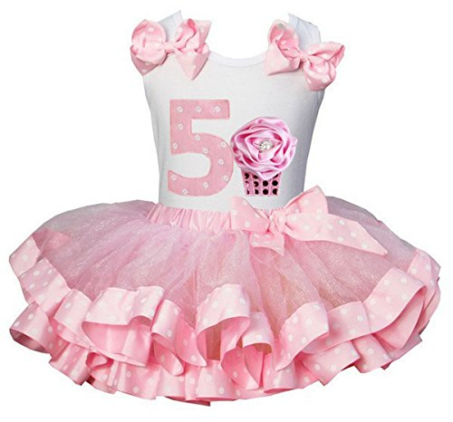 Kirei Sui Polka Dots Tutu 5th Rosette Cupcake Tank Top Medium Light Pink -