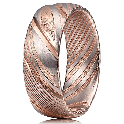 Ring Rose Two Tone (Three Keys Jewelry 8mm Damascus Steel Mens Wedding Ring Domed Grooved Wood Grain Bold Hand Forged Damascus Steel Wedding Band Engagement Ring Silver Rose Gold Size 10.5)