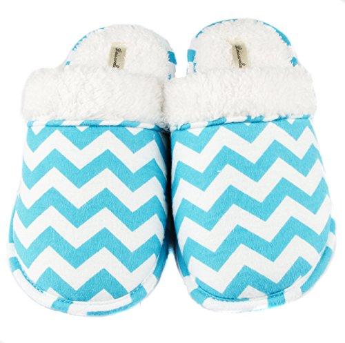 Women's Chevron Blue Flannel Slippers Cozy Leisureland Cotton BxgqUwdB7