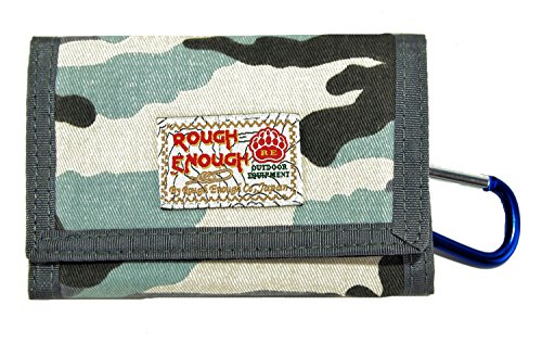 - Rough Enough Vintage Camo Military Army Pattern Canvas Sports Outdoors Casual Simple Trifold Slim Small Portable Cash Wallet Purse Holder Organizer for Kids Boys Teens Men with Zipper Coin Pockets