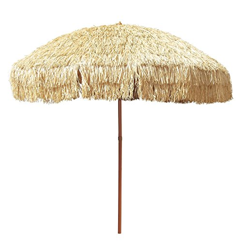 Large 8 Hula Patio Beach Umbrella & Bag Hawaiian Tiki Canopy Outdoor Decor -