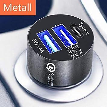 DOCA Mini Cargador de Auto USB, Cargador rápido 3.0 Tipo C y Puerto USB Doble Adaptador de Cargador de Auto rápido 3A 5-24V Compatible para iPhone, ...