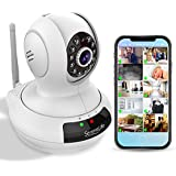 Wireless IP Home Security Camera - High Definition HD 720p Wifi Cloud Cam for Indoor Home Surveillance Video w/Night Vision - Remote Control PTZ Pan Tilt from Mobile or PC Mac - SereneLife IPCAMHD61