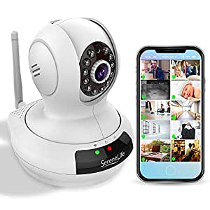 SereneLife Indoor Wireless Security IP Camera - HD 720p Home WiFi Nanny Monitoring - Electronic Motorized PTZ Pan Tilt Video Surveillance, Voice Mic Audio, IR Night Vision for Mobile PC Mac IPCAMHD61
