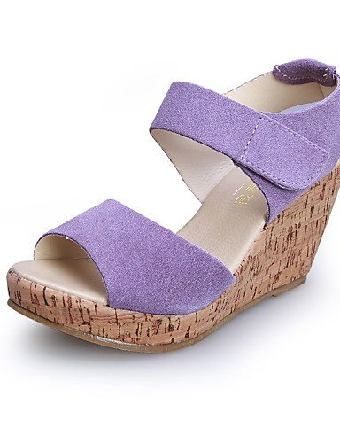 ShangYi Women's Shoes Wedge Heel Wedges/Heels/Platform/Comfort/Open Toe Sandals Casual Black/Yellow/Purple/Beige Purple TB7S3y