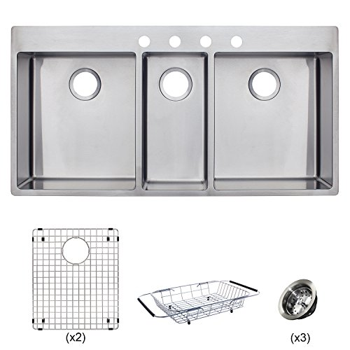 New Franke HFT4322-4KIT Vector 43 inch Handmade Dual Mount Triple Bowl (3 Bowl) Kitchen Sink Kit, Stainless Steel