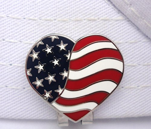 American Flag Heart Golf Ball Marker and Magnetic Hat Clip