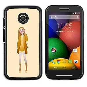 Caucho caso de Shell duro de la cubierta de accesorios de protecci¨®n BY RAYDREAMMM - Motorola Moto E - Chica Gafas Mujer Amarillo Moda