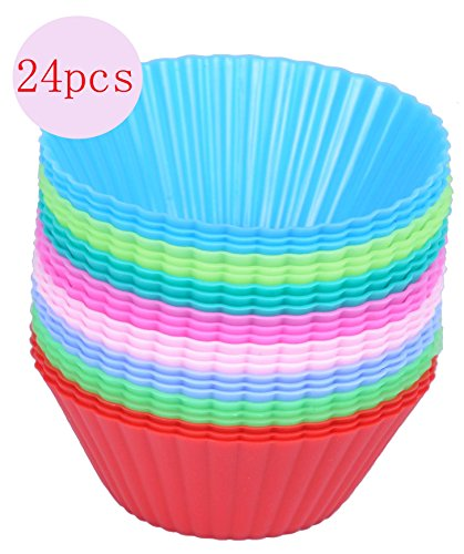 Cutequeen Trading 24pcs Silicone Baking Cups/Cupcake Liners - Vibrant Muffin Molds in Storage Container - Never Buy Paper Cups Again(Pack of -