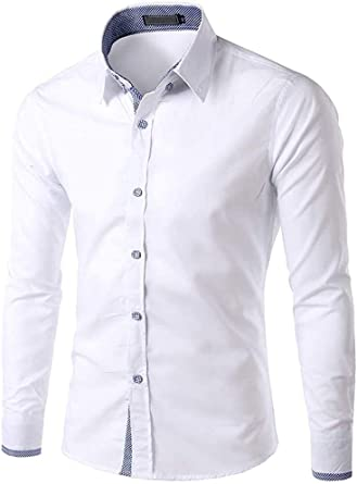 Slim Fit Camisa Botón Modernas La De Casual Camisa De Manga ...