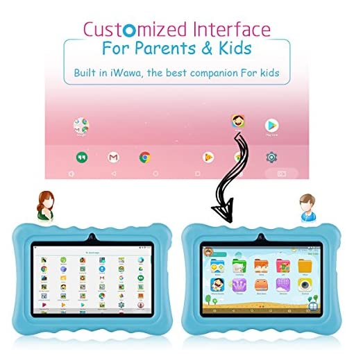 Tablet para niños con WiFi de 7 Pulgadas,Tablet Infantil de Android 7.1, Regalo para niños,Tablet portátil de Quad Core 1GB+8GB,Soporta Tarjeta TF 64GB,Doble cámara,Juegos educativos 4