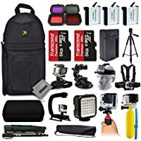 Opteka 3x Batteries + Filters + 128GB Memory + Handgrip + Case + Monopod + Chest Strap + Head Strap + Tripod + Floating Bobber + More For GoPro Hero4 Cameras