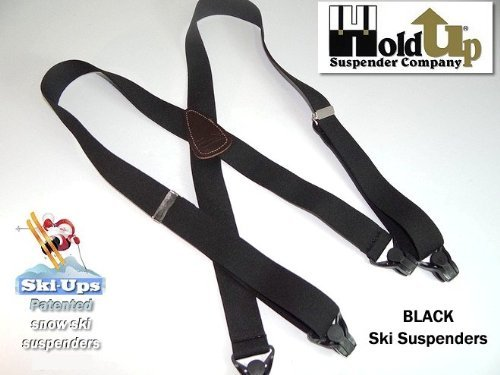 HoldUp All Black Snow Ski-Ups Suspenders in 1 1/2'' width with Patented black Gripper Clasps in X-back style by Hold-Up Suspender Co. (Image #9)