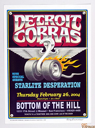 Detroit Cobras Poster 2004 Feb 26 Bottom of the Hill SF Gary Grimshaw