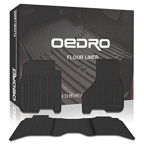 2009-2018 Ram 1500 Crew Cab Slush Floor Mats OEM - Unique TPE All-Weather Guard by oEdRo, Includes 1st & 2nd Row Front and Rear Floor Liner Set (All Mat Row Weather)